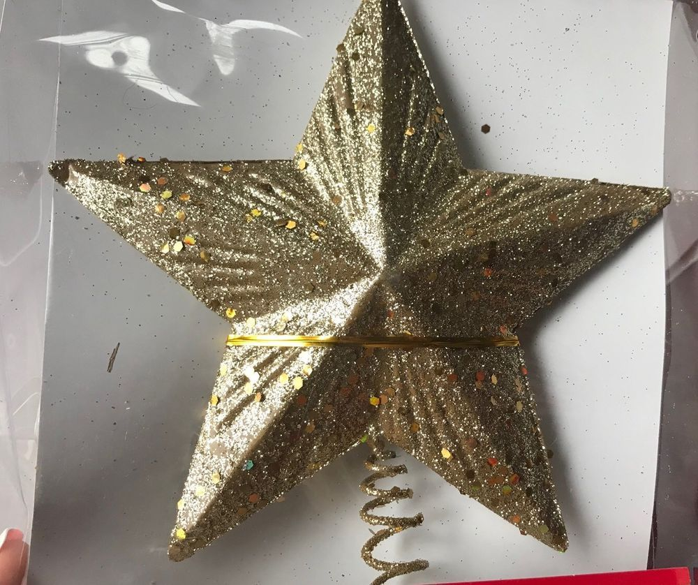 Gold Glitter 5 Point Star Christmas Tree Topper Decoration