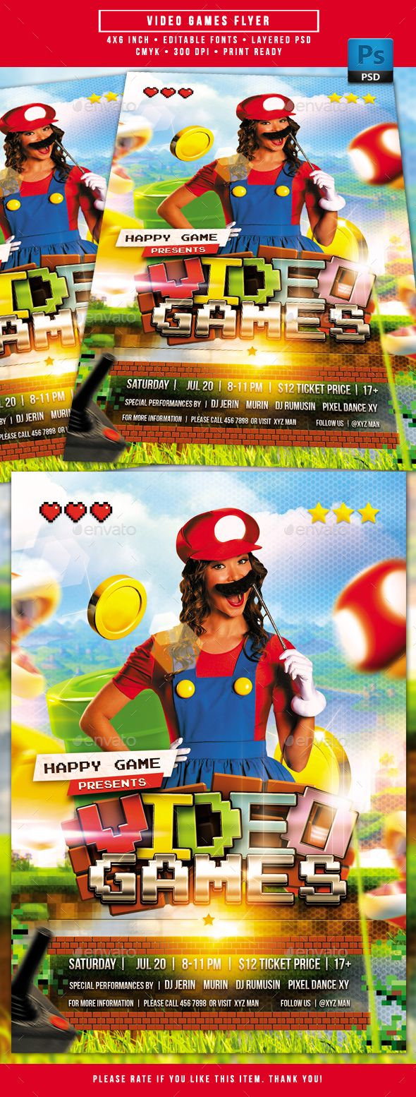 Video Games Flyer. Printtemplates Flyers Events. Tags
