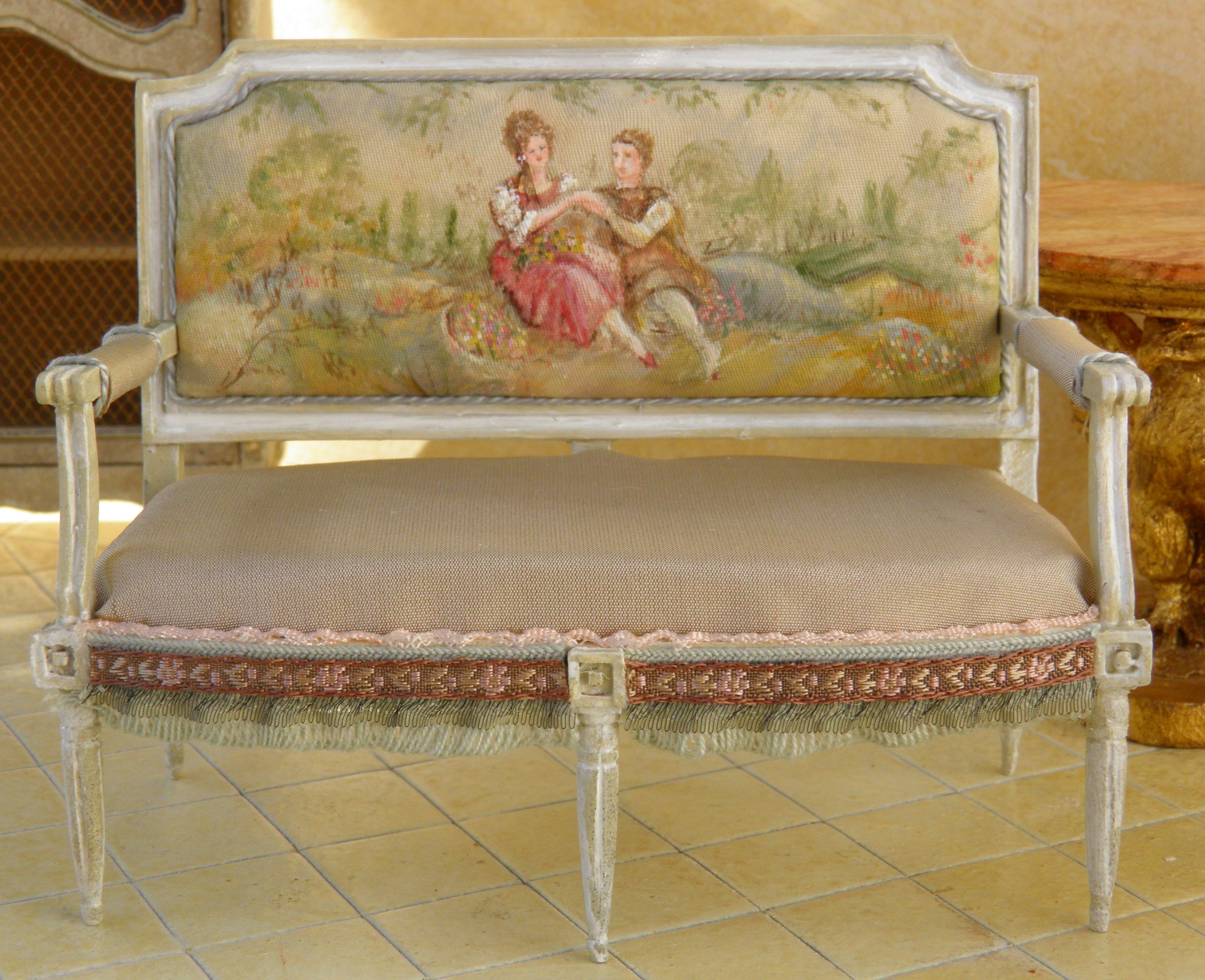 French Lovers Hand Painted Silk Taffeta by
