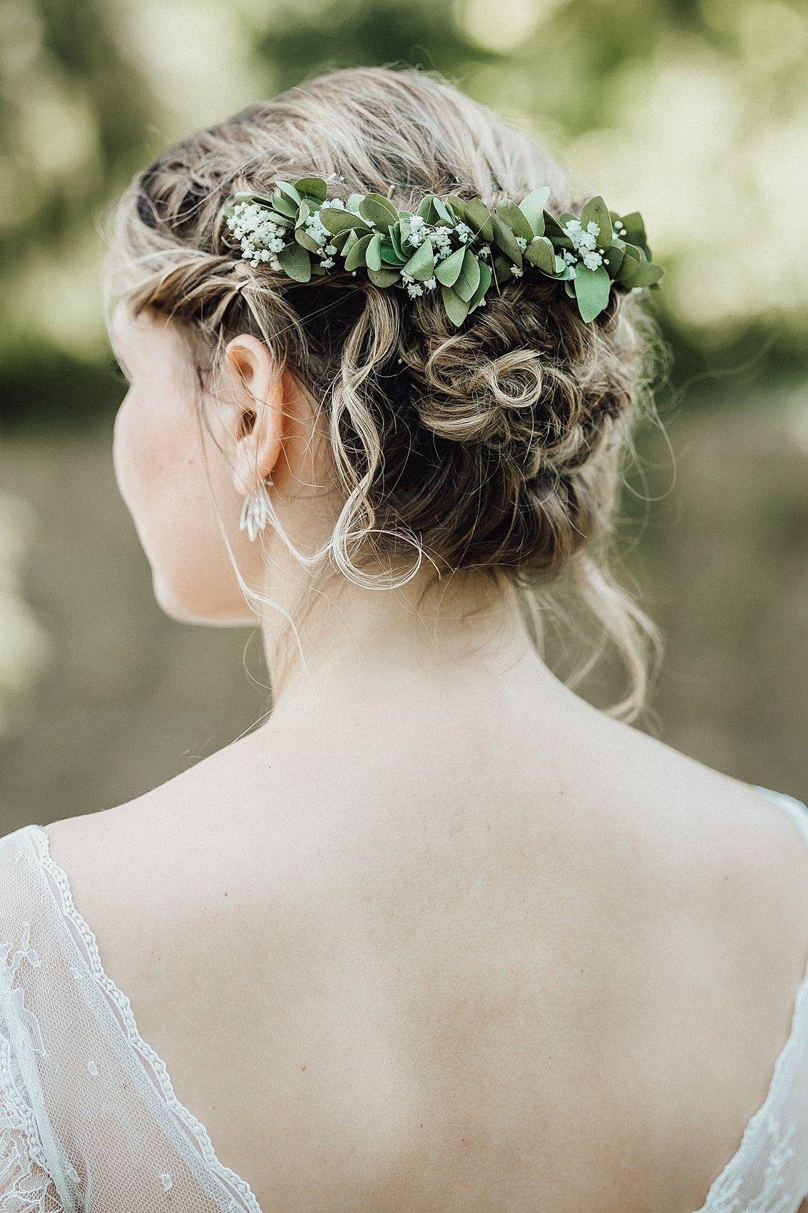 Brautstyling mit Eukalyptus und Schleierkraut // Brautfrisur // up ...
