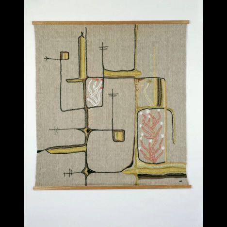 "Mariska Karasz | Rose Garden | handwoven + embroidered + chain-stitched + couched | mercerized cotton + wool + chenille + silk + rayon | 60"" x 56-5/8"" | c. 1957-'58"