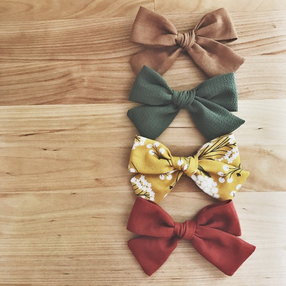 Fall Hair Bow Set of 4. Rust color bow, olive green bow, yellow floral bow, bown bow. School girl bow. Pigtail sets. Neutral hair bows.