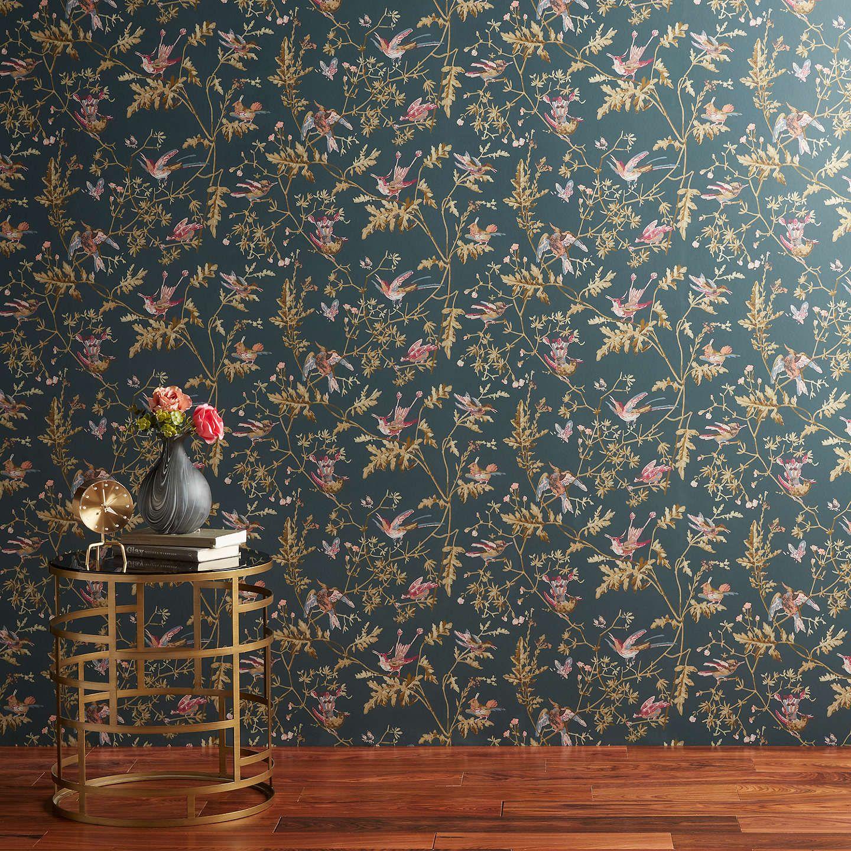 Cole & Son Hummingbirds Wallpaper Viridian / Magenta