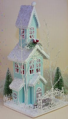 What a lovely little putz...   GLITTER HOUSES/ BOTTLE BRUSH TREES ...