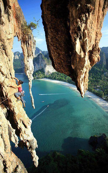 Climbing in Krabi. Raileh beach Thailand