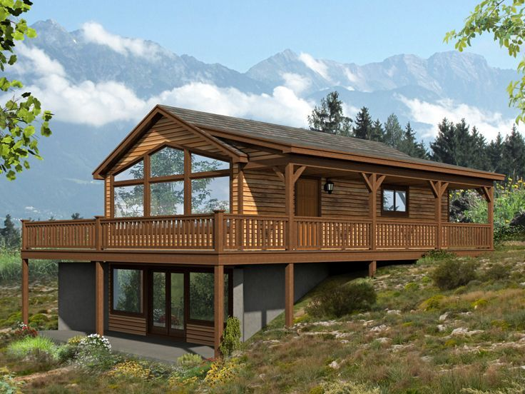 062h 0088 Two Bedroom Mountain House Plan 1557 Sf Country Style House Plans Cabin House Plans Sloping Lot House Plan
