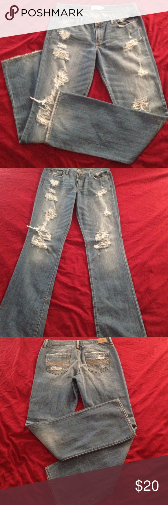 Abercrombie & Fitch Jeans Used Abercrombie & Fitch Destroyed denim jeans size 8.  32x32. These jeans are in good shape. 100% cotton. Abercrombie & Fitch Jeans Boot Cut