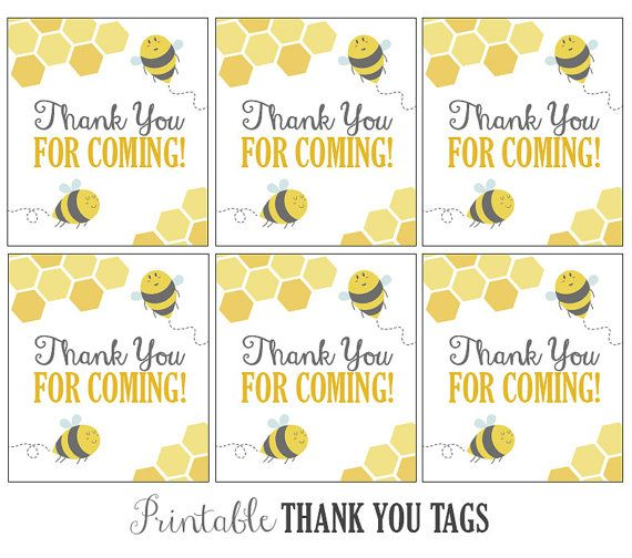 Yellow Bee Thank You Tags For Baby