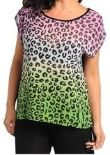 SHORT SLEEVE HIGH LOW ANIMAL PRINT CONTRAST TOP PLUS SIZE