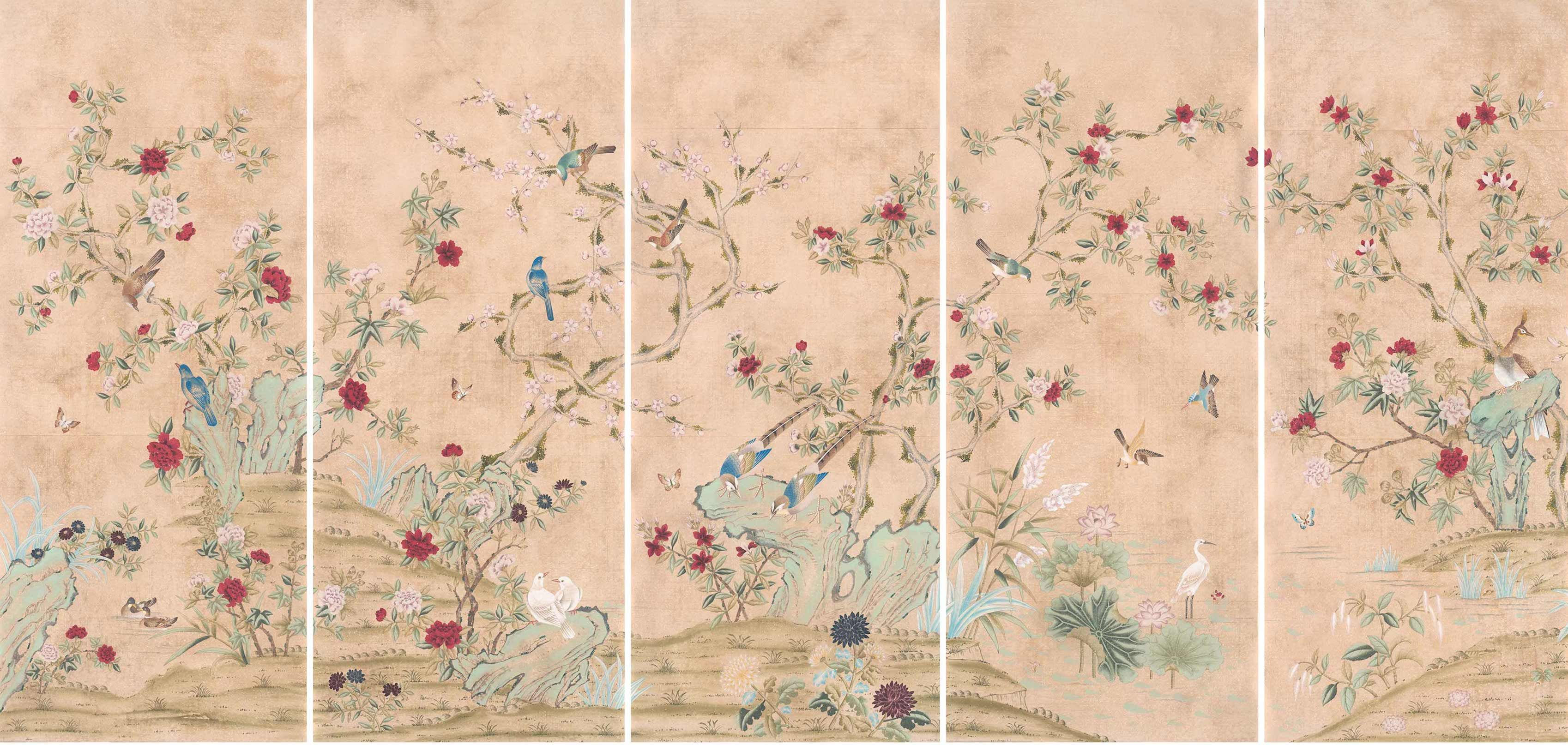 Traditional Folly handpainted chinoiserie wallpaper. True