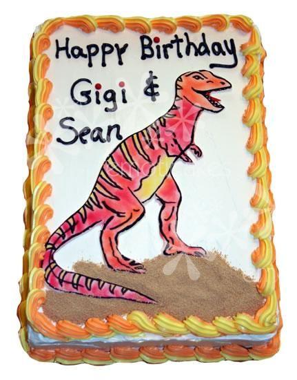 1 4 Sheet Birthday Cake From Emoticakes Marble Dairy Free Dinosaur T Rex