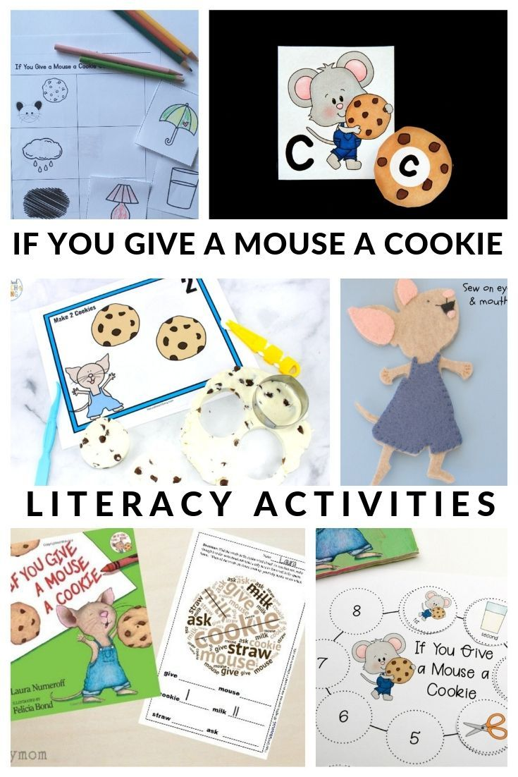 Fun and engaging If You Give a Mouse a Cookie Activities to build literacy skills.  Includes free printable resources for preschool-2nd grade. #IfYouGiveAMouseACookie #bookactivities #preschool #kindergarten #GrowingBookbyBook #teaching #education #booksforkids #literacy #reading