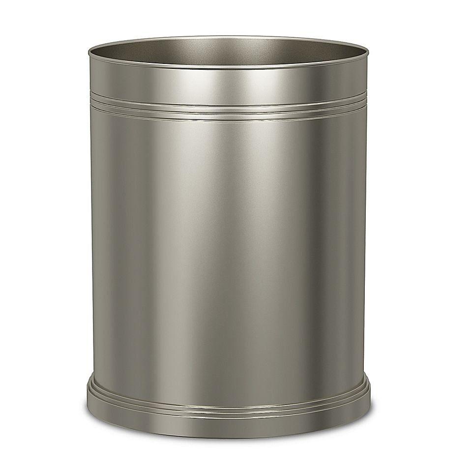Dual Ridge Wastebasket In Brushed Nickel 1000 In 2020 Waste Basket Brushed Nickel Bath Accessories