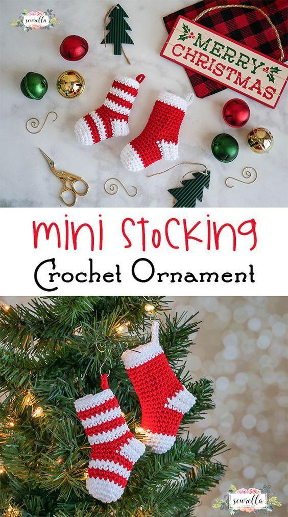 Crochet Mini Stockings Christmas Ornament • Sewrella