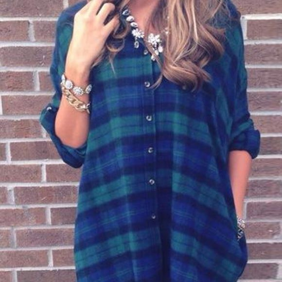 8801ef17 Blue & Green Plaid Tunic Shirt I love this shirt. Its official name is black  watch plaid or tart in plaid. I love it. This is an oversized, soft and  very ...