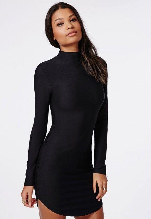 29fa9e71793 High Neck Long Sleeve Curve Hem Mini Dress Black - Dresses - Mini Dresses -  Missguided