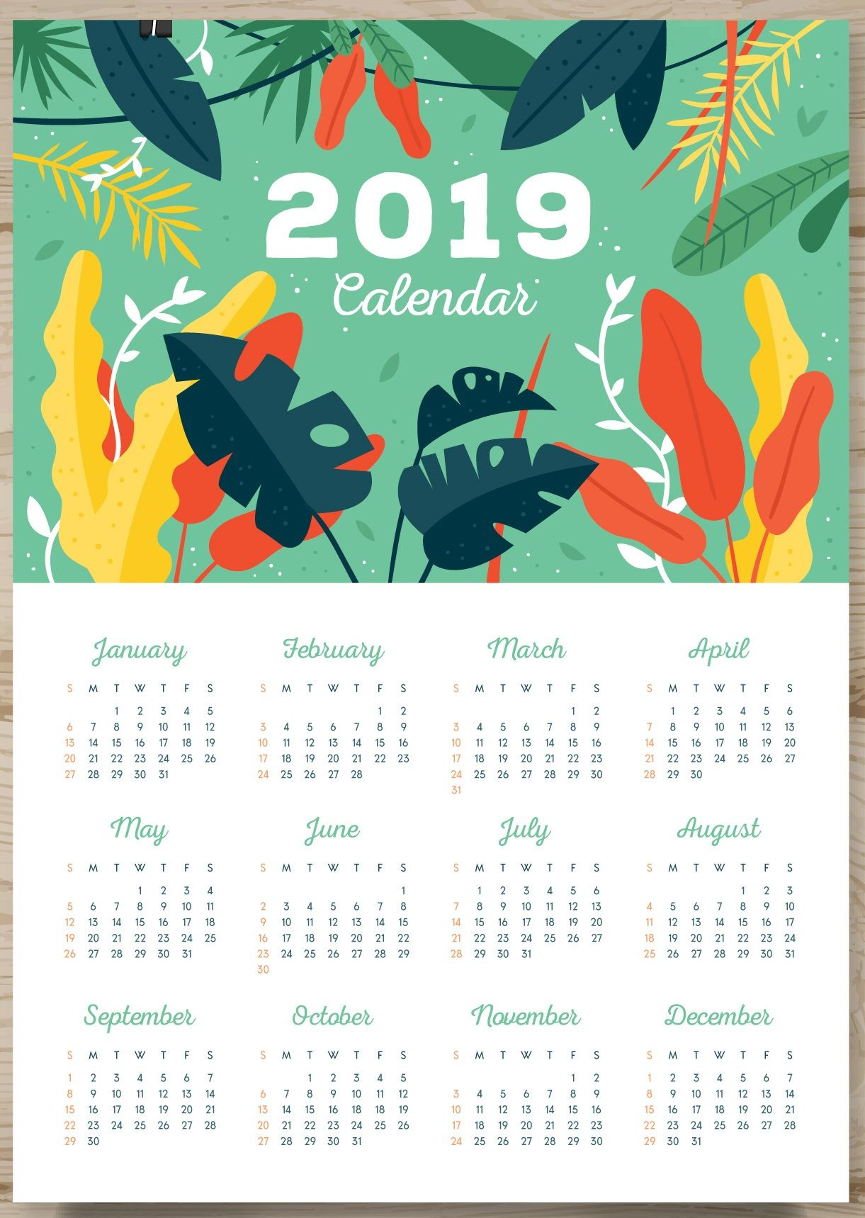 Single Page Calendar 2019 One Page Calendar 2019 | Monthly Calendar Templates | Printable