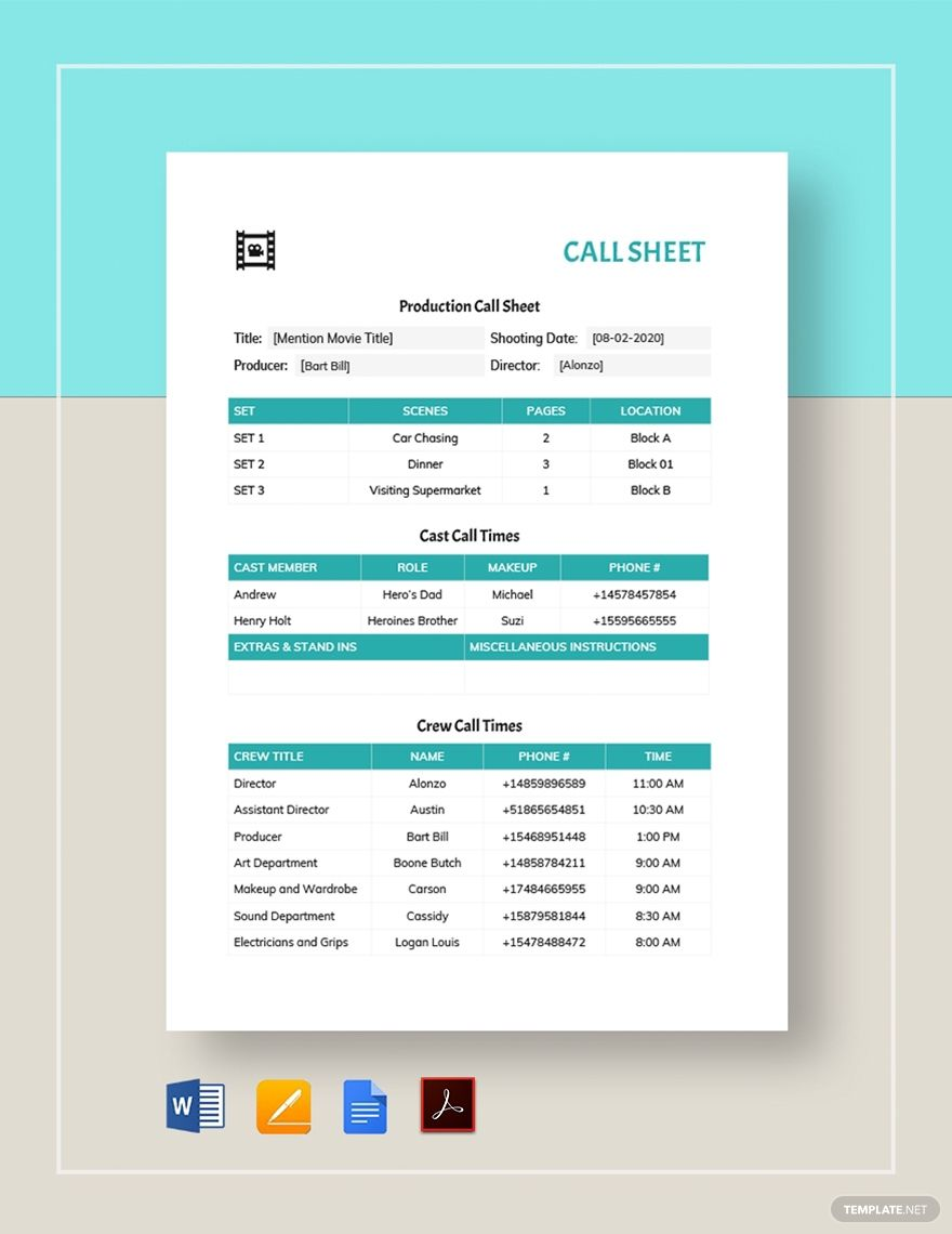Call Sheet Template In 2020 Templates Lettering Word Doc Call sheet template google docs