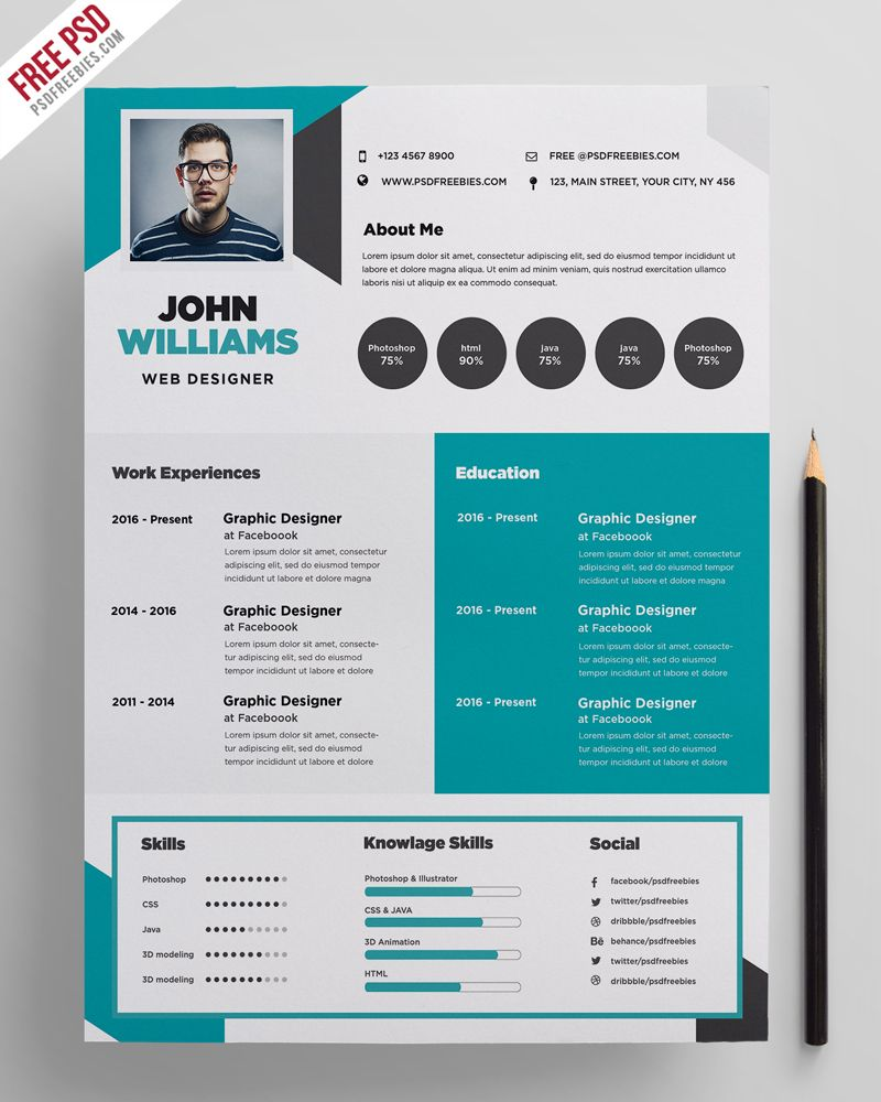 Download Free Creative Resume Template PSD The Have A Very Organized And Named