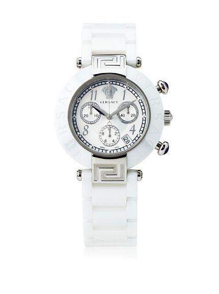 e08d3e2a7 Versace Women's 95CCS1D497 SC01 Reve Mother-Of-Pearl Dial Chronograph White  Ceramic Bracelet Watch at MYHABIT