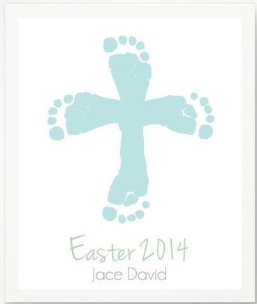 First easter gifts for the baby personalized easter cross with blue first easter gifts for the baby personalized easter cross with blue baby footprint art print by pitter patter print etsy negle Images