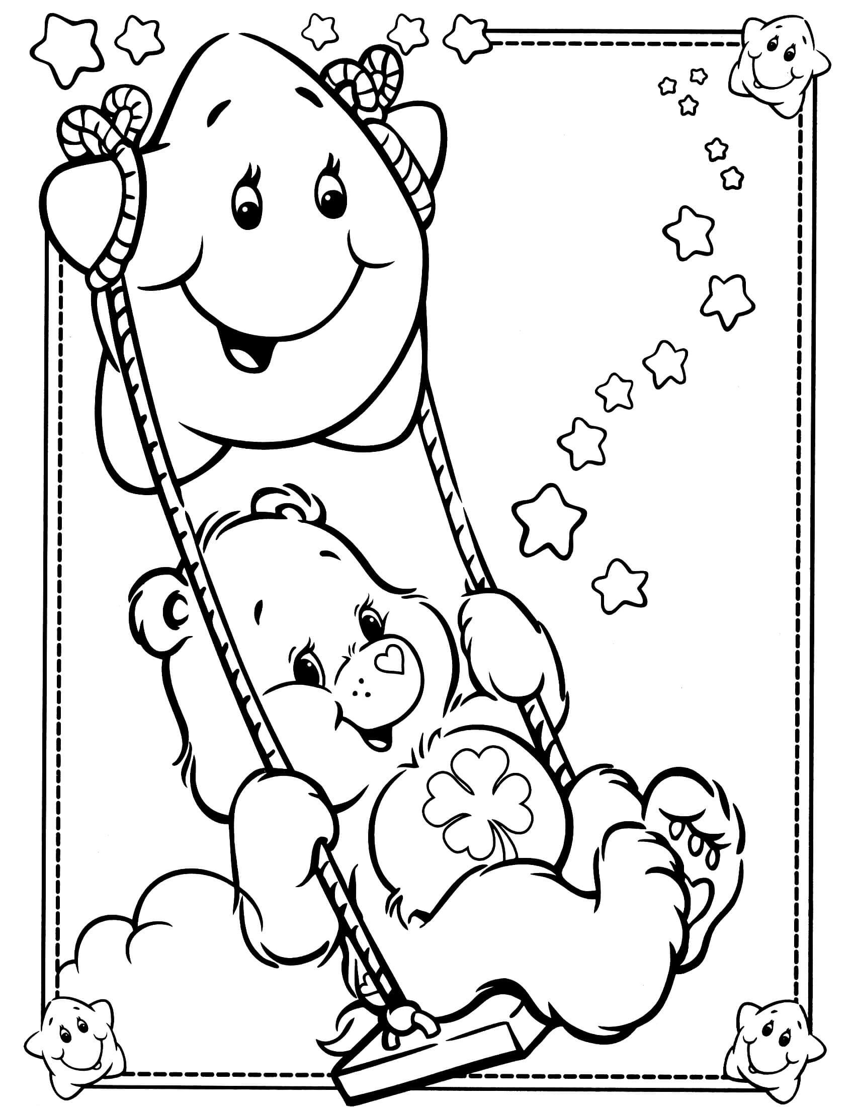 Lucky Swing Bear Coloring Pages Cute Coloring Pages Adult