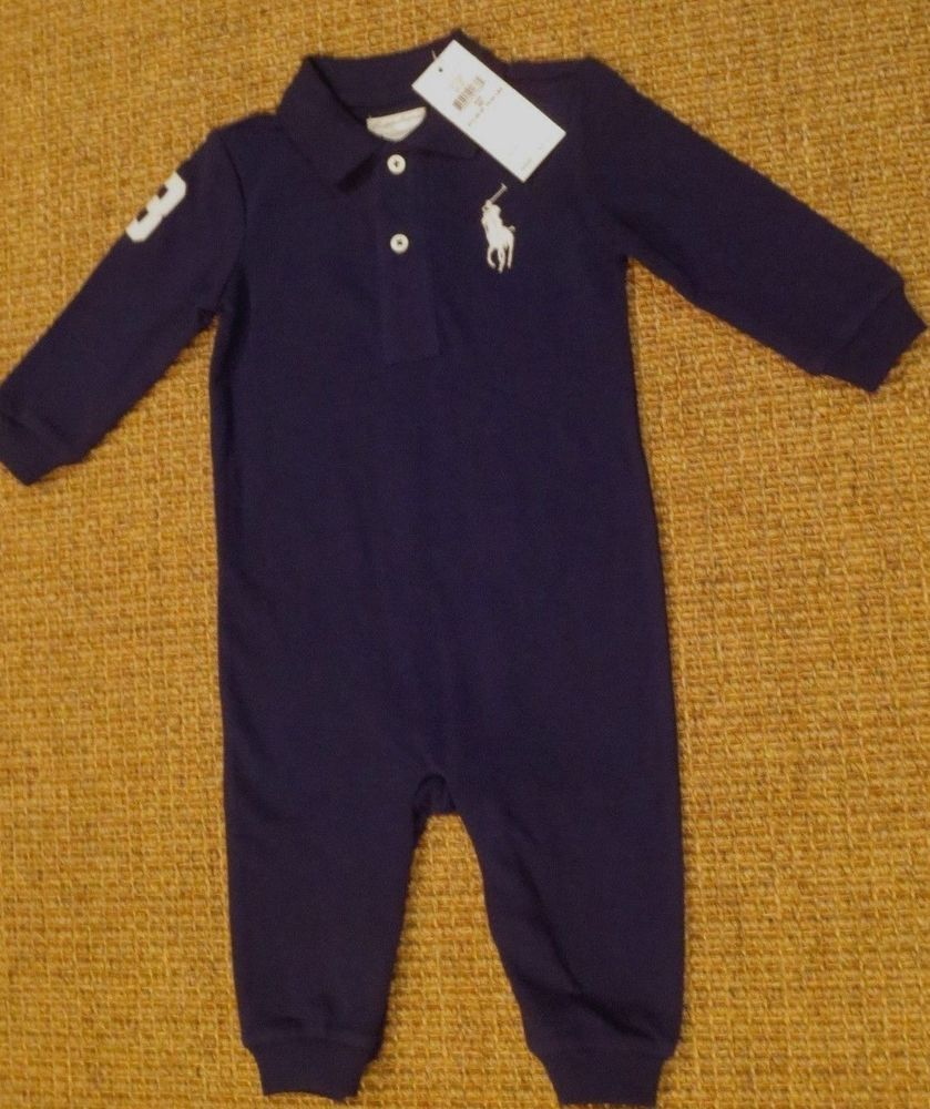 06b9c1b4c POLO RALPH LAUREN BABY BOY 9 MONTHS BIG PONY OUTFIT ROMPER BLUE NEW  #PoloRalphLauren