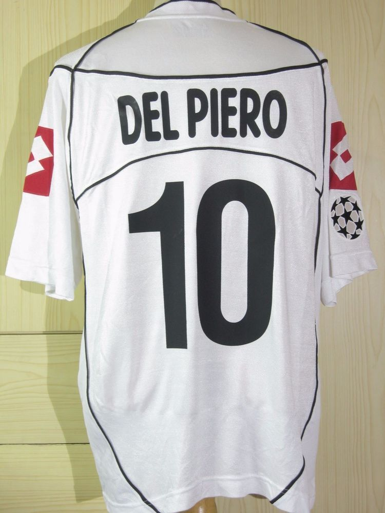 4d734ff0f Del Piero Juventus Italy Champions League 2002 Away Player Jersey Lotto Shirt  L