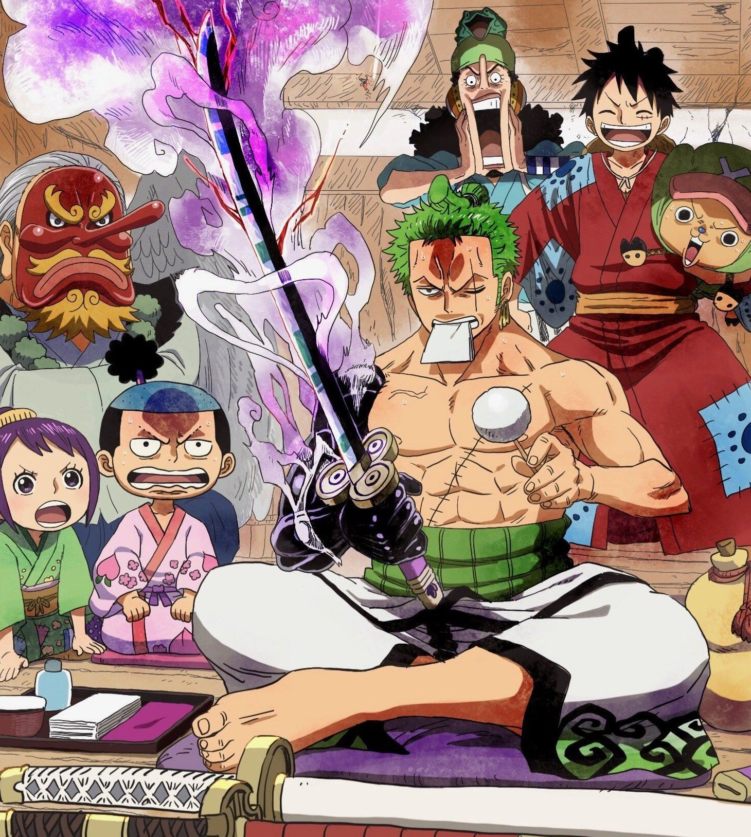 """Zoro was able to """"tame"""" enma and displayed good control over it. Zoro With Enma Manga Anime One Piece One Piece Wallpaper Iphone Anime"""