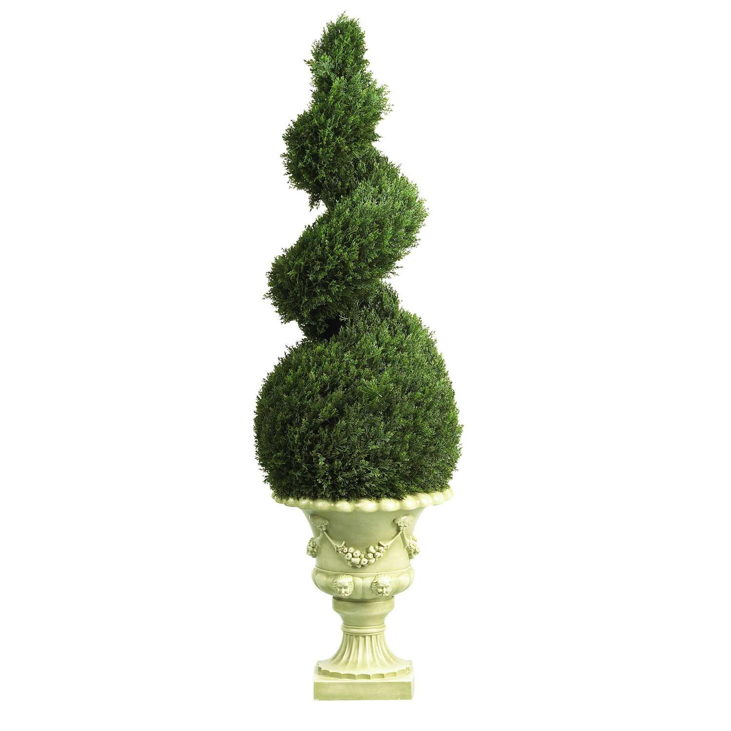 Decorative Urns For Plants Adorable 4 Foot Cedar Spiral Topiary In Decorative Urn  Urn And Topiary Design Decoration