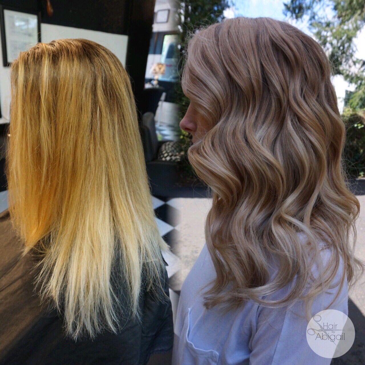 Before and after. Balayage Cool Blonde. No more stripey