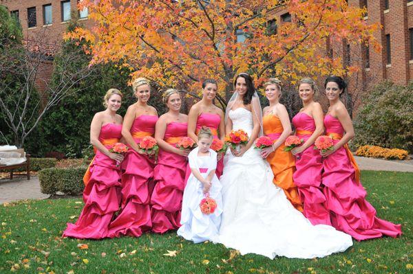 Orange Gown Wedding: Fuschia & Orange Bridesmaid Dresses