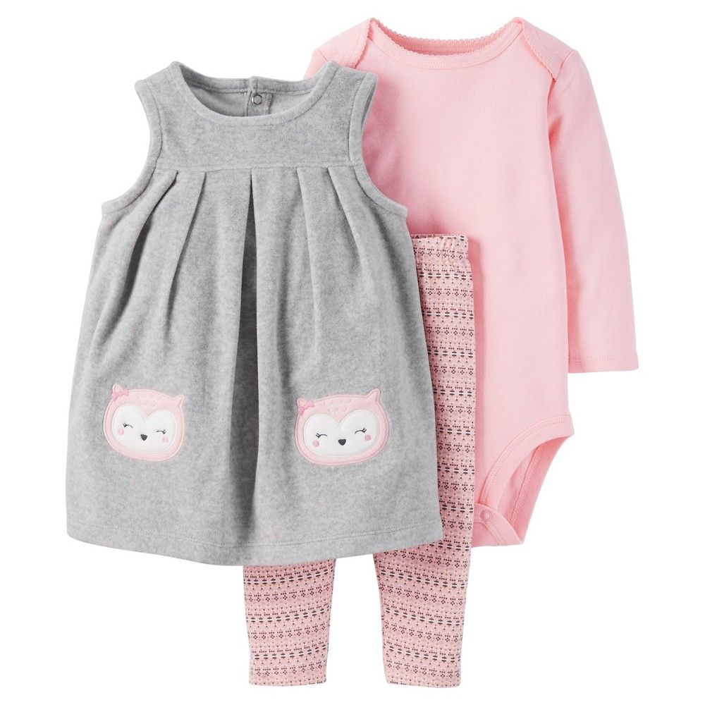 30206a3c6 Baby Girls  3 Piece Owl Jumper Set Grey Pink 3M - Just One YouMade ...