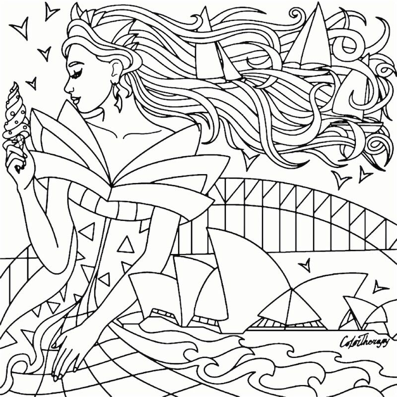 Dreaming Of Sydney Recolor Coloring Pages For Adults Coloring Pages Recolor