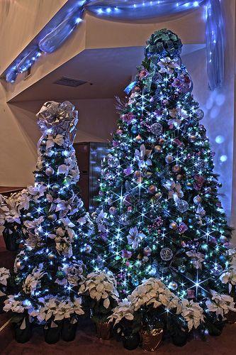 Silver Purple And Blue Themed Christmas Tree In Led Lights Elegant Christmas Trees Christmas Tree Themes Purple Christmas