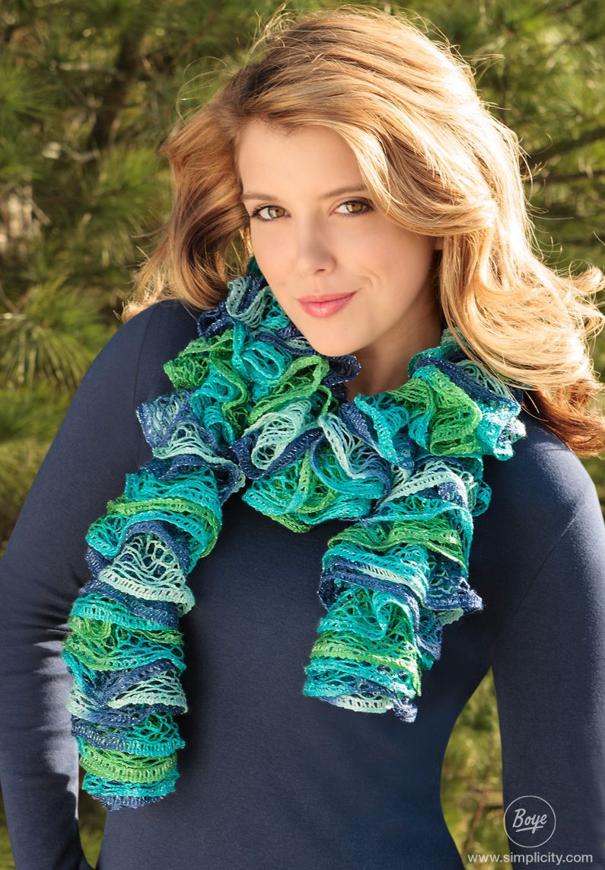Beautiful loom knit ruffle scarf. Free DIY pattern on www.simplicity ...