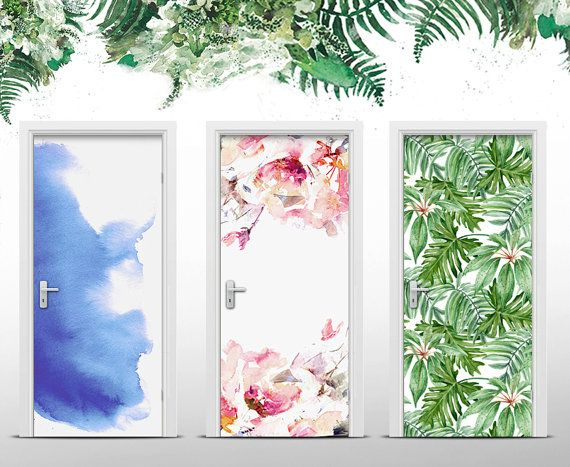 Floral Door Sticker Self Adhesive Door Wrap 37 40 X 80 71