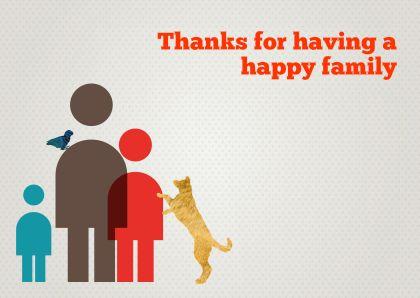 Bedankkaartjes - Bedankt familie met hond en vogel