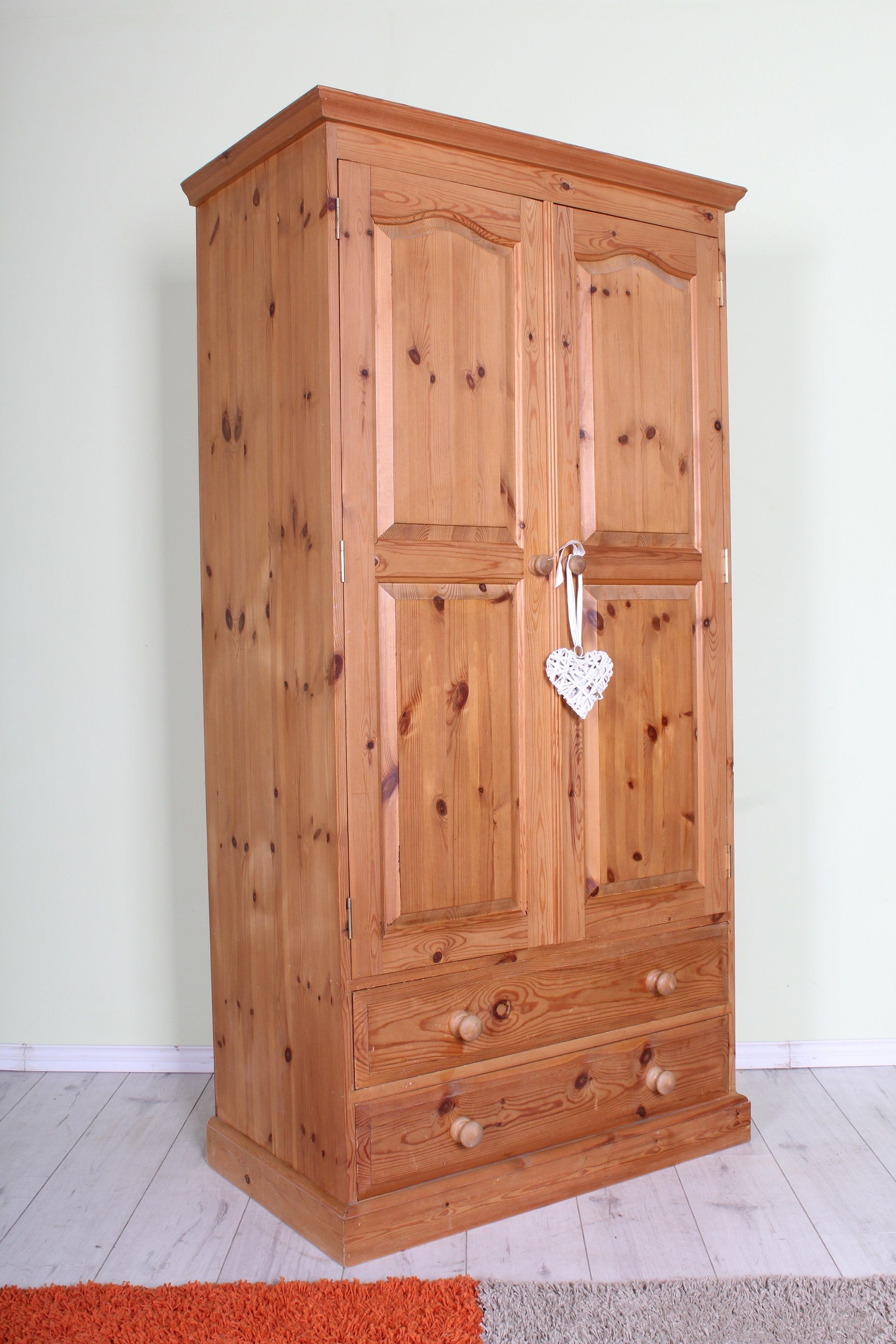 225 Pine wardrobe with 2 drawers all tongue & groove with dovetail