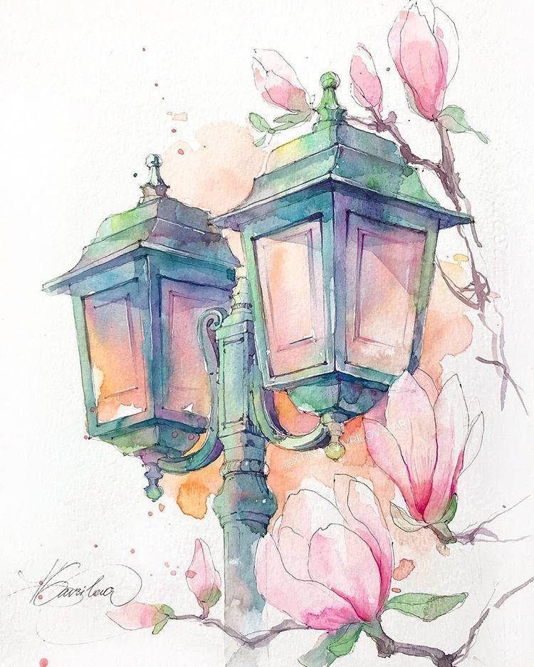 Watercolor Artist On Instagram The Magnolia Lantern Novyj