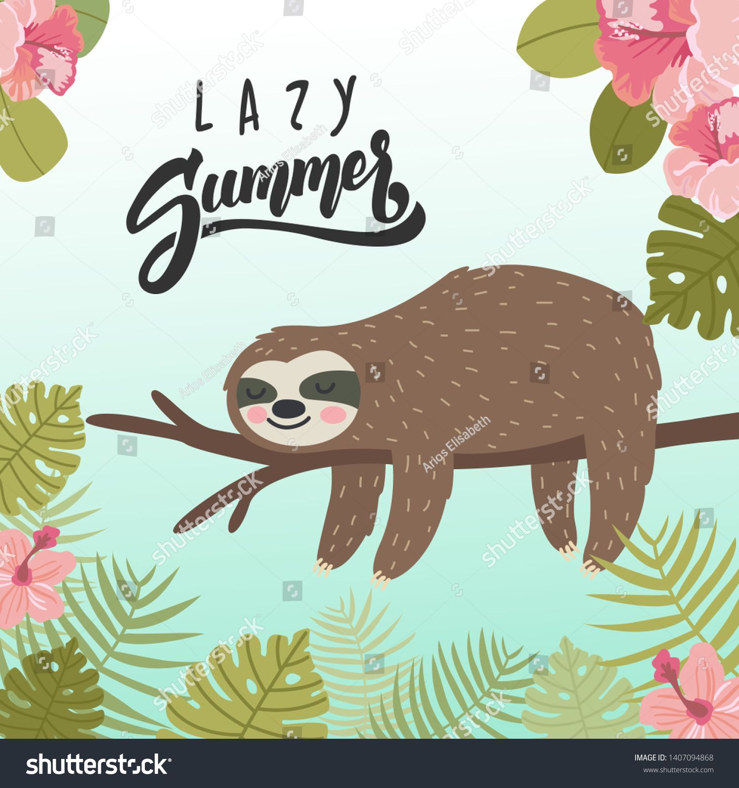sumer banner with sleeping sloth