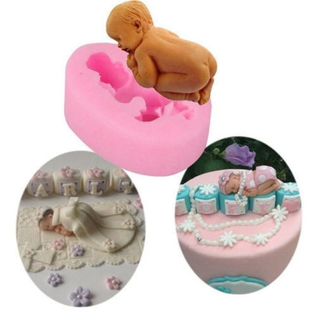 3D Silicone Sleep Baby Fondant Mold Cake Sugar Candy Decorating Pink DIY Baking