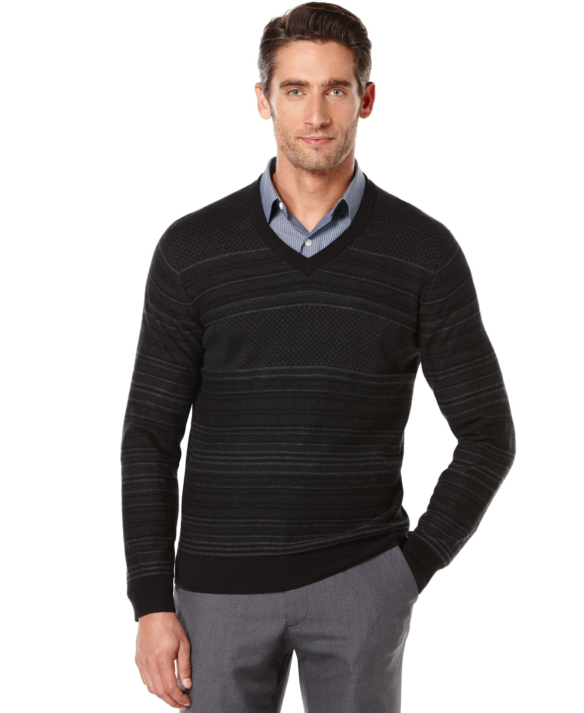 e818d7ecd Perry Ellis Big and Tall Jacquard V-Neck Sweater