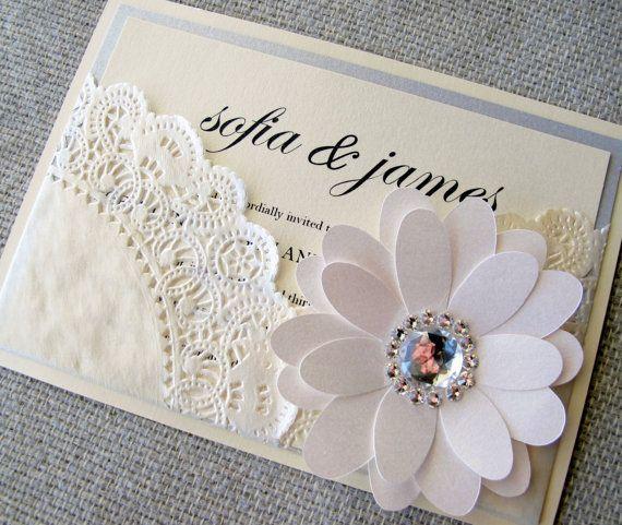 Lace Doily Chic Pocket Wedding Invitation