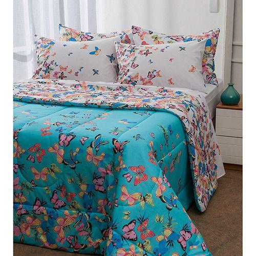 37ae1039e0 Enxoval Cama Queen Papillon 7 Peças - Casa   Conforto - 100% algodão ...
