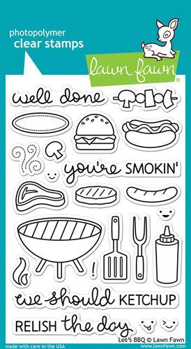 Lawn Fawn  Clear Photopolymer Stamps  Let's BBQ is part of lawn Fawn Gifts - Time to fire up the grill for some crafting' fun! This set of 23 clear stamps features a BBQ grill, BBQ utensils, burgers, hotdogs, a kabob, and matching smiley faces and sentiments! This stamp set coordinates perfectly with Let's BBQ Lawn Cuts custom craft dies  This package includes 23 clear acrylic stamps on a 4  x 6  storage sheet  Made in the USA  Color Match c ffffff c f0f0f0 c 00a8a8 c d8d8d8 c 909090 c a8a8a8 c c0c0c0 c 90d8d8 c 787878 c 90c048  All Matches Brand Lawn Fawn Category Stamping (Photopolymer Stamps) Themes BBQ, 4th of July, Fathers Day, Food, Phrases and Expressions SKU lflf889 UPC 035127961057 Link Get Link or Embed Code