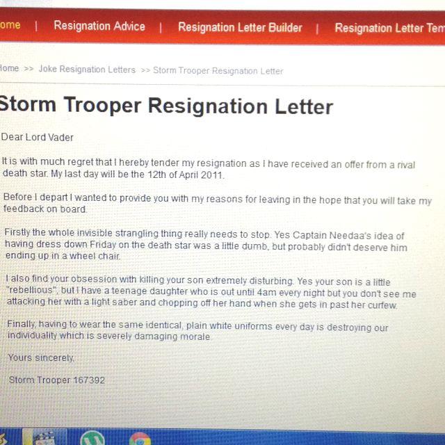 Stormtrooper Resignation Letter  Star Wars