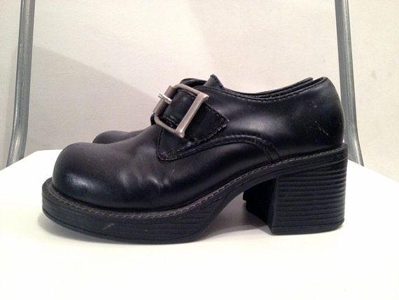 SODA 90's Chunky Black Buckle Shoes