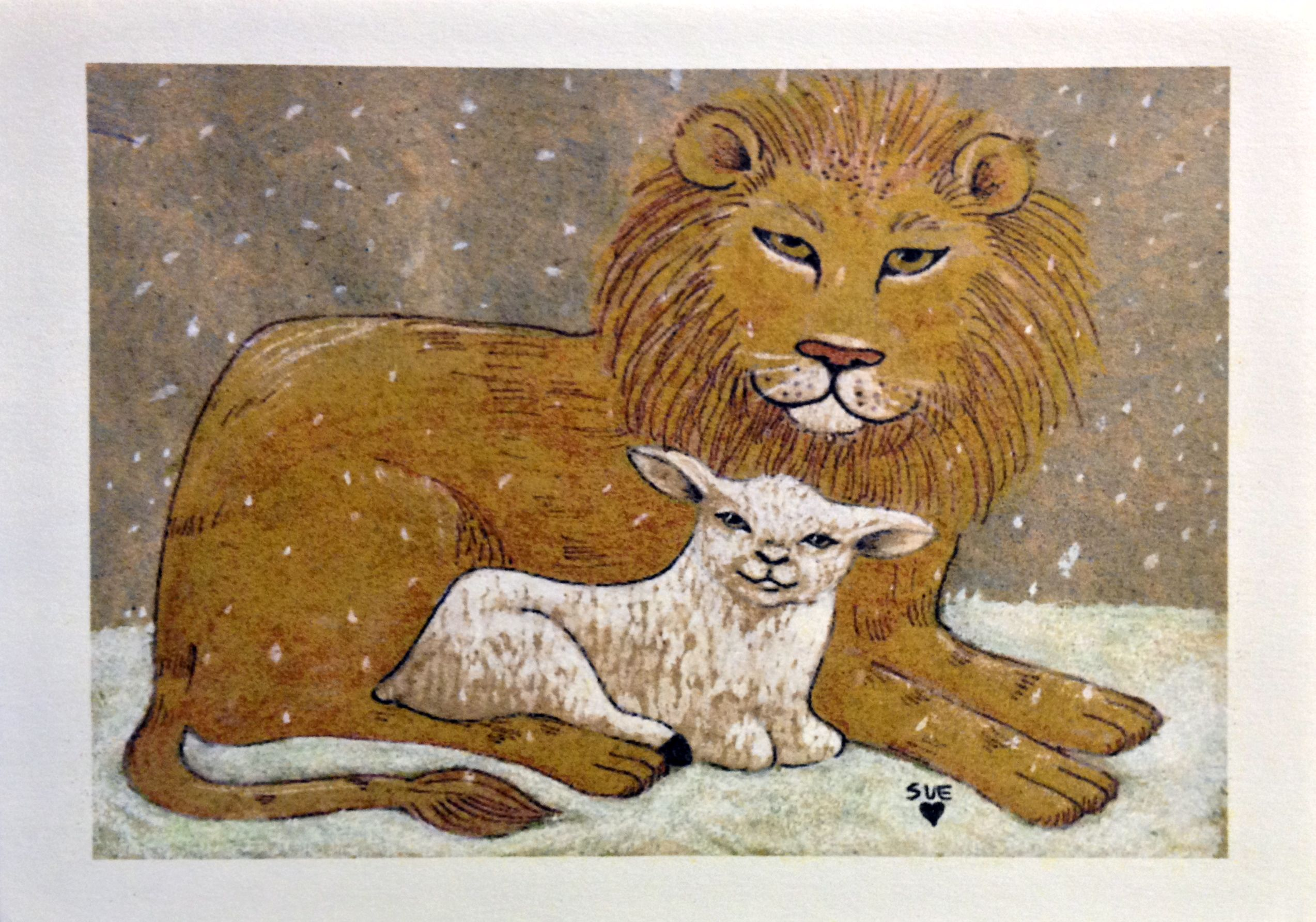 Lion & Lamb Christmas card by Digilio Designs. Inside message = \