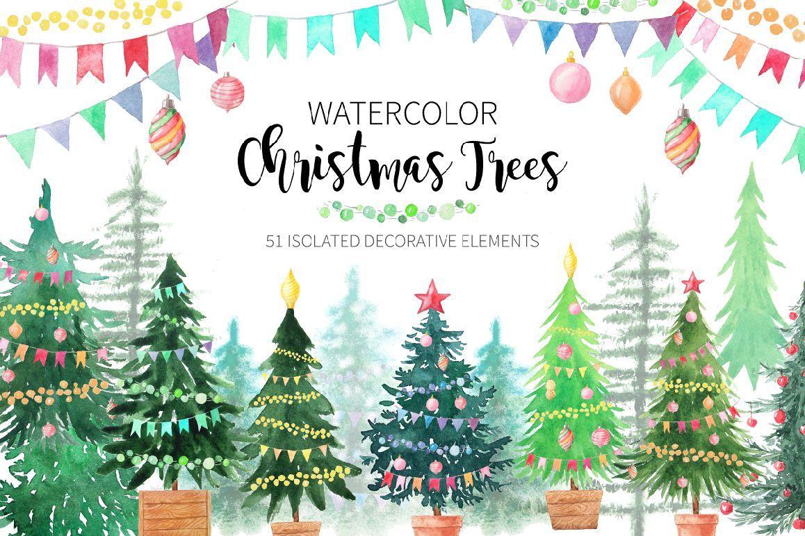Watercolor Christmas Trees Watercolor Christmas Tree Christmas